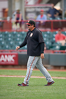 Altoona Curve coach Joel Hanrahan (52) during an Eastern League game against the Erie SeaWolves on June 5, 2019 at UPMC Park in Erie, Pennsylvania.  Altoona defeated Erie 6-2.  (Mike Janes/Four Seam Images)