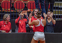 Den Bosch, The Netherlands, Februari 9, 2019,  Maaspoort , FedCup  Netherlands - Canada, First round match : Bianca Andreescu (CAN) celebrates her win with teammembers<br /> Photo: Tennisimages/Henk Koster