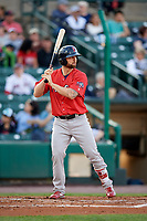 Pawtucket Red Sox first baseman Sam Travis (15) at bat during a game against the Rochester Red Wings on May 19, 2018 at Frontier Field in Rochester, New York.  Rochester defeated Pawtucket 2-1.  (Mike Janes/Four Seam Images)