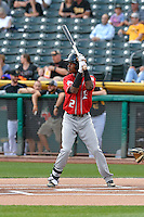 Raimel Tapia (2) of the Albuquerque Isotopes at bat against the Salt Lake Bees in Pacific Coast League action at Smith's Ballpark on August 30, 2016 in Salt Lake City, Utah. The Bees defeated the Isotopes 3-2. (Stephen Smith/Four Seam Images)