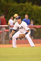 Binghamton Mets third baseman Dustin Lawley (24) during a game against the Bowie Baysox on August 3, 2014 at NYSEG Stadium in Binghamton, New York.  Bowie defeated Binghamton 8-2.  (Mike Janes/Four Seam Images)