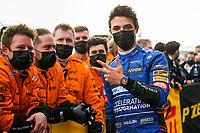 18th April 2021; Autodromo Enzo and Dino Ferrari, Imola, Italy; F1 Grand Prix of Emilia Romagna, Race Day;  NORRIS Lando (gbr), McLaren MCL35M, celebrates his 3rd placed finish