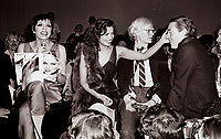 Minelli Jagger Warhol6902.JPG<br /> New York, NY 1978 FILE PHOTO<br /> Liza Minelli Bianca Jagger Andy Warhol, Halston<br /> Studio 54<br /> Digital photo by Adam Scull-PHOTOlink.net