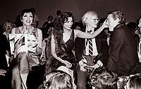 Minelli Jagger Warhol6902.JPG<br /> New York, NY 1978 FILE PHOTO<br /> Liza Minelli Bianca Jagger Andy Warhol, Halston<br /> Studio 54<br /> Digital photo by Adam Scull-PHOTOlink.net