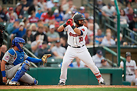 Rochester Red Wings Wilin Rosario (20) at bat in front of catcher Reese McGuire (7) during an International League game against the Buffalo Bisons on May 31, 2019 at Frontier Field in Rochester, New York.  Rochester defeated Buffalo 5-4 in ten innings.  (Mike Janes/Four Seam Images)