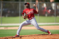 GCL Cardinals pitcher Nathanael Heredia (37) during a Gulf Coast League game against the GCL Astros on August 11, 2019 at Roger Dean Stadium Complex in Jupiter, Florida.  GCL Cardinals defeated the GCL Astros 2-1.  (Mike Janes/Four Seam Images)