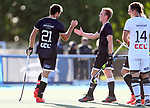 Nic Woods (L) and Charl Ulrich of North celebrate a goal during the Men's North v South hockey match, St Pauls Collegiate, Hamilton, New Zealand. Saturday 17 April 2021 Photo: Simon Watts/www.bwmedia.co.nz