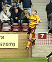 29/09/2007       Copyright Pic: James Stewart.File Name : sct_jspa04_motherwell_v_rangers.Motherwell's Chris Porter celebrates after he scores the opener.....James Stewart Photo Agency 19 Carronlea Drive, Falkirk. FK2 8DN      Vat Reg No. 607 6932 25.Office     : +44 (0)1324 570906     .Mobile   : +44 (0)7721 416997.Fax         : +44 (0)1324 570906.E-mail  :  jim@jspa.co.uk.If you require further information then contact Jim Stewart on any of the numbers above........