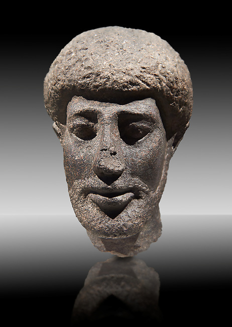 Granite ancient Egyptian statue head of a man with a beard. 1st Century BC . Neues Reich Museum Berlin Cat No: AM 10660.