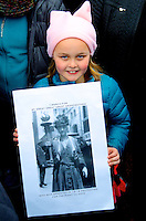 Great Great Great Granddaughter of Suffrage Activist at the Women's March on Washington 1.21.17, the largest  of 600 marches on 7 continents on first full day of the new Trump Administration.