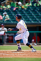 Montgomery Biscuits designated hitter Nick Ciuffo (14) follows through on a swing during a game against the Mississippi Braves on April 25, 2017 at Montgomery Riverwalk Stadium in Montgomery, Alabama.  Mississippi defeated Montgomery 3-2.  (Mike Janes/Four Seam Images)