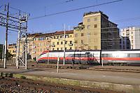 """- high-speed train Eurostar """"Red Arrow"""" at Milan Lambrate station<br /> <br /> - treno ad alta velocità Eurostar """" Freccia Rossa """" alla stazione di Milano Lambrate"""