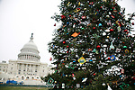 Christmas Tree at The United States Capitol in Washington D.C.  is among the most symbolically important and architecturally impressive buildings in the nation. It has housed the meeting chambers of the House of Representatives and the Senate for two centuries. The Capitol, which was started in 1793, has been through many construction phases. It stands today as a monument to the American people and their government. pictured: Under Construction for the 2009 Presidential Inauguration Site. December 6, 2008