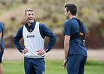 St Johnstone Training…11.08.17<br />David Wotherspoon and Joe Shaughnessy pictured during training this morning ahead of tomorrows game against Motherwell<br />Picture by Graeme Hart.<br />Copyright Perthshire Picture Agency<br />Tel: 01738 623350  Mobile: 07990 594431