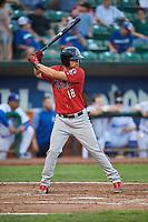 Juan Martinez (18) of the Billings Mustangs bats against the Ogden Raptors at Lindquist Field on August 18, 2018 in Ogden, Utah. Billings defeated Ogden 6-4. (Stephen Smith/Four Seam Images)