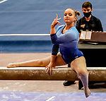 February 19, 2021: Long Island's Allison Lapp compete's on the beam during the 2nd Annual George McGinty Alumni Meet at the SECU Arena at Towson University in Towson, Maryland. Scott Serio/Eclipse Sportswire/CSM