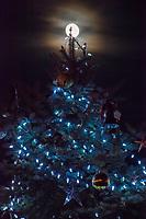 A near full moon rises behind the Otterbein University Christmas Tree.