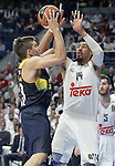 Real Madrid's Gustavo Ayon (r) and Fenerbahce Istambul's Bogdan Bogdanovic during Euroleague Quarter-Finals 3rd match. April 19,2016. (ALTERPHOTOS/Acero)