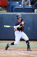Chris Hudgins (24) of the Cal State Fullerton Titans bats against the Wichita State Shockers at Goodwin Field on March 13, 2016 in Fullerton, California. Cal State Fullerton defeated Wichita State, 7-1. (Larry Goren/Four Seam Images)