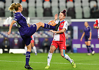 Anderlecht forward Sarah Wijnants (11) pictured in a fight for the ball with Linfield forward Rebecca McKenna (18)  during a female soccer game between RSC Anderlecht Dames and Northern Irish Linfield Ladies  in the first qualifying round for the Uefa Womens Champions League of the 2020 - 2021 season , Wednesday 4 th of November 2020  in ANDERLECHT , Belgium . PHOTO SPORTPIX.BE | SPP | DAVID CATRY