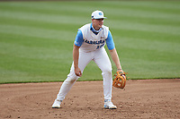 North Carolina Tar Heels third baseman Clemente Inclan (18) on defense against the North Carolina State Wolfpack at Boshamer Stadium on March 27, 2021 in Chapel Hill, North Carolina. (Brian Westerholt/Four Seam Images)