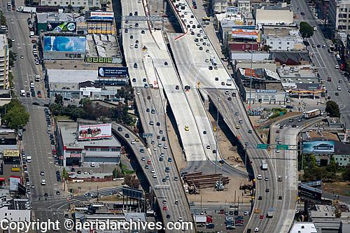 aerial photograph of many billboards at San Francisco Oakland Bay Bridge off ramps in San Francisco