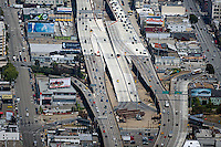 aerial photograph of many billboards at San Francisco Oakland Bay Bridge off ramps in San Francisco