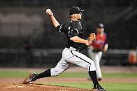 Kyle Kubat (1) of the Kannapolis Intimidators with the North team pitches during the South Atlantic League All-Star Game on Tuesday, June 20, 2017, at Spirit Communications Park in Columbia, South Carolina. The game was suspended due to rain after seven innings tied, 3-3. (Tom Priddy/Four Seam Images)