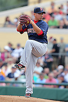 Boston Red Sox Daisuke Matsuzaka #18 delivers a pitch during a spring training game vs. the Detroit Tigers at Joker Marchant Stadium in Lakeland, Florida;  March 15, 2011.  Boston defeated Detroit 2-1.  Photo By Mike Janes/Four Seam Images