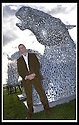 14/11/2007       Copyright Pic: James Stewart.File Name : sct_jspa14_helix.SCULPTOR ANDY SCOTT STANDS NEXT TO SCALE MODELS OF THE TWO 30 METRE HIGH KELPIES WHICH WILL BE THE CENTRE PIECE OF FALKIRK COUNCIL'S FOR THEIR HELIX PROJECT WHICH.RECEIVED £25 MILLION POUND FROM THE BIG LOTTERY FUND... .James Stewart Photo Agency 19 Carronlea Drive, Falkirk. FK2 8DN      Vat Reg No. 607 6932 25.Office     : +44 (0)1324 570906     .Mobile   : +44 (0)7721 416997.Fax         : +44 (0)1324 570906.E-mail  :  jim@jspa.co.uk.If you require further information then contact Jim Stewart on any of the numbers above........