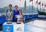 The magnificent Australian Open Trophies visiting Hong Kong for the first time to officially launch the Australian Open Hong Kong office. Photo by Victor Fraile / The Power of Sport Images
