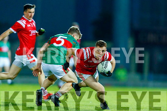 Peter Crowley, Mid Kerry and Dara Moynihan, East Kerry during the Kerry County Senior Football Championship Final match between East Kerry and Mid Kerry at Austin Stack Park in Tralee on Saturday night.