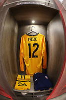 GUADALAJARA, MEXICO - MARCH 24: The locker of Matthew Freese #12 of the United States before a game between Mexico and USMNT U-23 at Estadio Jalisco on March 24, 2021 in Guadalajara, Mexico.