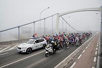 misty & cold race start of the 76th Omloop Het Nieuwsblad 2021<br /> ME(1.UWT)<br /> 1 day race from Ghent to Ninove (BEL): 200km<br /> <br /> ©kramon