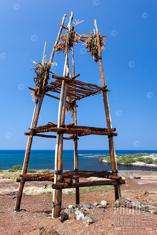 An offering stand backed by the ocean at Pu'ukohola Heiau, Big Island.