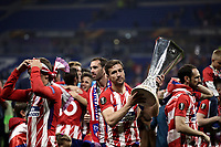 Club Atletico de Madrid's Gabi holds the trophy at the end of the UEFA Europa League final football match between Olympique de Marseille and Club Atletico de Madrid at the Groupama Stadium in Decines-Charpieu, near Lyon, France, May 16, 2018. Club Atletico de Madrid won 3-0.<br /> UPDATE IMAGES PRESS/Isabella Bonotto