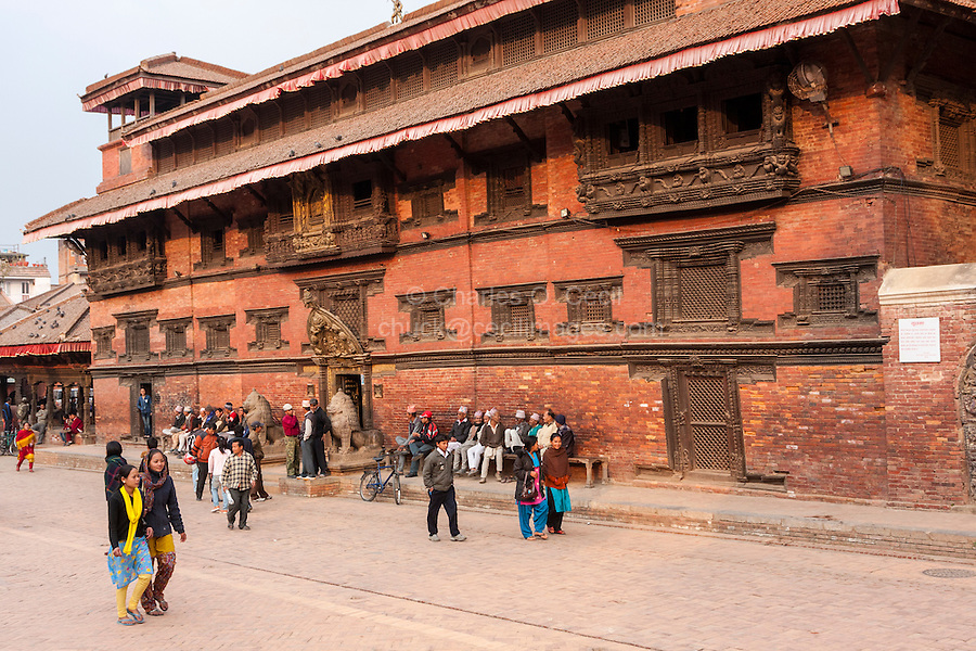 Nepal, Patan.  Durbar Square.  Entrance to the Royal Palace, now a Museum.  March 2, 2009.  The palace survived the April 2015 earthquake.