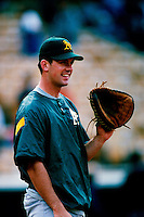 A.J. Hinch of the Oakland Athletics participates in a Major League Baseball game at Dodger Stadium during the 1998 season in Los Angeles, California. (Larry Goren/Four Seam Images)