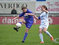 Finale Beker van West-Vlaanderen Vrouwen FC Knokke - SK Opex Girls Oostende :  duel tussen Ruth Wille (rechts) en Fien Devriendt (links)<br /> foto DAVID CATRY | Sportpix.be