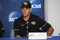 Wake Forest Demon Deacons head coach Tom Walter (16) answers questions following the game against the Florida Gators in Game Three of the Gainesville Super Regional of the 2017 College World Series at Alfred McKethan Stadium at Perry Field on June 12, 2017 in Gainesville, Florida.  The Gators defeated the Demon Deacons 3-0 to advance to the College World Series in Omaha, Nebraska.   (Brian Westerholt/Four Seam Images)