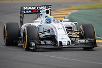 March 14, 2015: Felipe Massa (BRA) #19 from the Williams Martini Racing team rounds turn two during qualification at the 2015 Australian Formula One Grand Prix at Albert Park, Melbourne, Australia. Photo Sydney Low