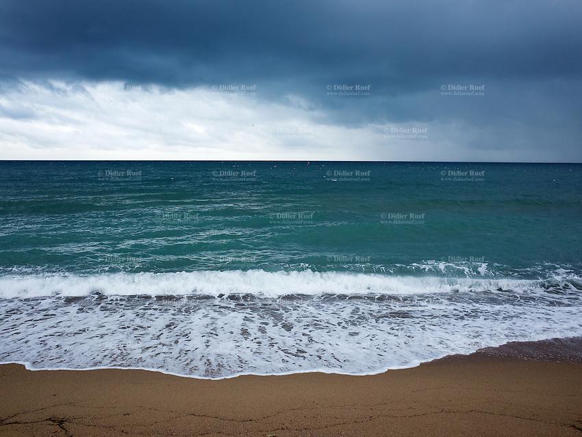 France. Alpes-Maritimes department. Cannes. La Bocca. Waves on Mediterranean sea under stormy sky. 11.11.14  © 2014 Didier Ruef