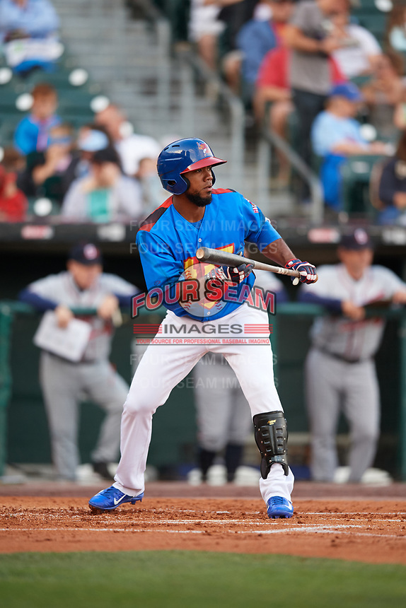 Buffalo Bisons left fielder Teoscar Hernandez (3) squares to bunt during a game against the Gwinnett Braves on August 19, 2017 at Coca-Cola Field in Buffalo, New York.  The Bisons wore special Superhero jerseys for Superhero Night.  Gwinnett defeated Buffalo 1-0.  (Mike Janes/Four Seam Images)