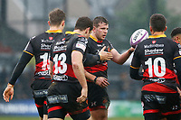 Elliot Dee of Dragons talks with Gavin Henson of Dragons after scoring his ties first try of the match during the European Challenge Cup match between Dragons and Bordeaux Begles at Rodney Parade, Newport, Wales, UK. 20 January 2018