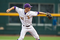 LSU Tigers shortstop Alex Bregman #30 throws during Game 4 of the 2013 Men's College World Series between the LSU Tigers and UCLA Bruins at TD Ameritrade Park on June 16, 2013 in Omaha, Nebraska. The Bruins defeated the Tigers 2-1. (Brace Hemmelgarn/Four Seam Images)
