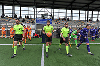 assistant referee Thibault Holvoet , referee Baptiste Federico ,  assistant referee Ercan Eray and the players entering the fieldbefore a female soccer game between RSC Anderlecht Dames and AA Gent Ladies on the fifth matchday of play off 1 of the 2020 - 2021 season of Belgian Womens Super League , saturday 8 th of May 2021  in Brussels , Belgium . PHOTO SPORTPIX.BE | SPP | STIJN AUDOOREN