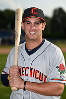 Connecticut Tigers outfielder Ross Kivett (55) poses for a photo before a game against the Batavia Muckdogs on July 21, 2014 at Dwyer Stadium in Batavia, New York.  Connecticut defeated Batavia 12-3.  (Mike Janes/Four Seam Images)