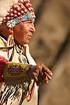 A Native American Sioux Indian pointing while telling a story