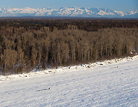 Two teams run on the Yentna river with the Talkeenta Range in the background a few hours after leaving the re-start line in Willow during the 2011 Iditarod.
