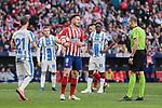 Atletico de Madrid's Saul Niguez and CD Leganes's Ruben Perez during La Liga match between Atletico de Madrid and CD Leganes at Wanda Metropolitano stadium in Madrid, Spain. March 09, 2019. (ALTERPHOTOS/A. Perez Meca)